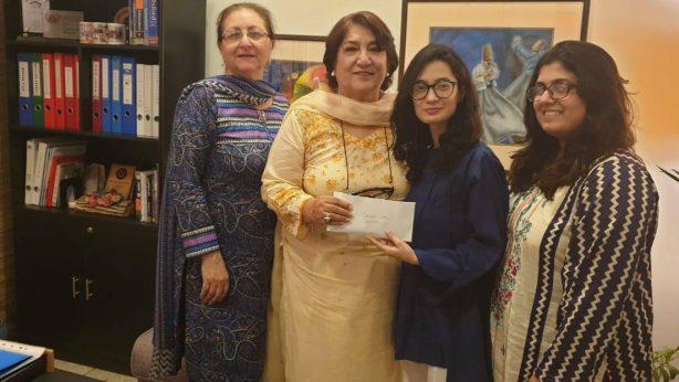Anam Shaharyar & Anam Shahraiz handing over donation for Cancer Care Hospital